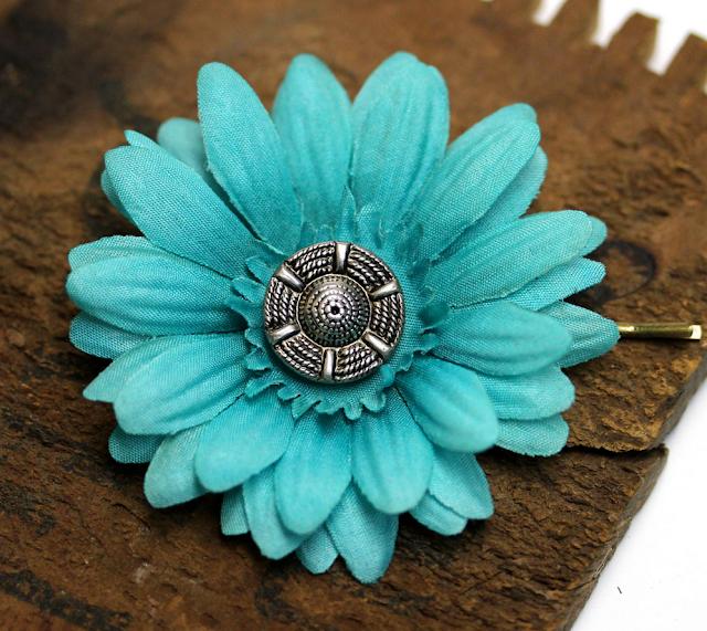 Aqua Pinup Hair Flower #retro #hair #pin #style