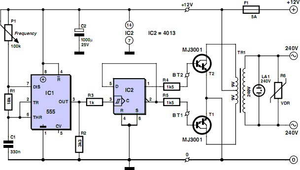 Low Cost 12V To 220V Inverter Circuit Project