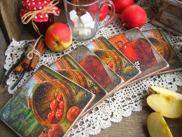 decoupage inspiracje na jesień fall decoupage podkładki