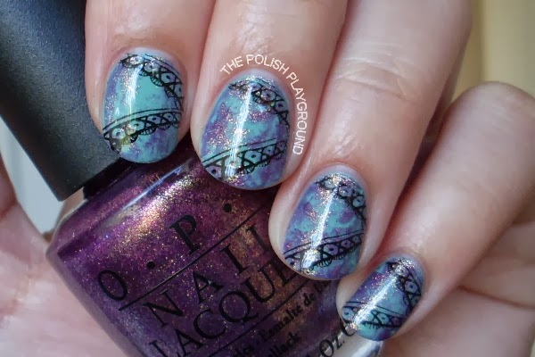 Saran Wrap with Lace Stamping
