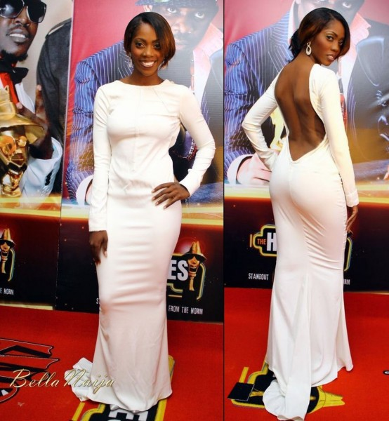 Tiwa savage in a long tight white dress