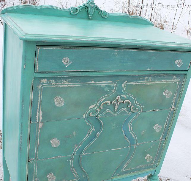 shizzle design repurposed turquoise highboy dresser