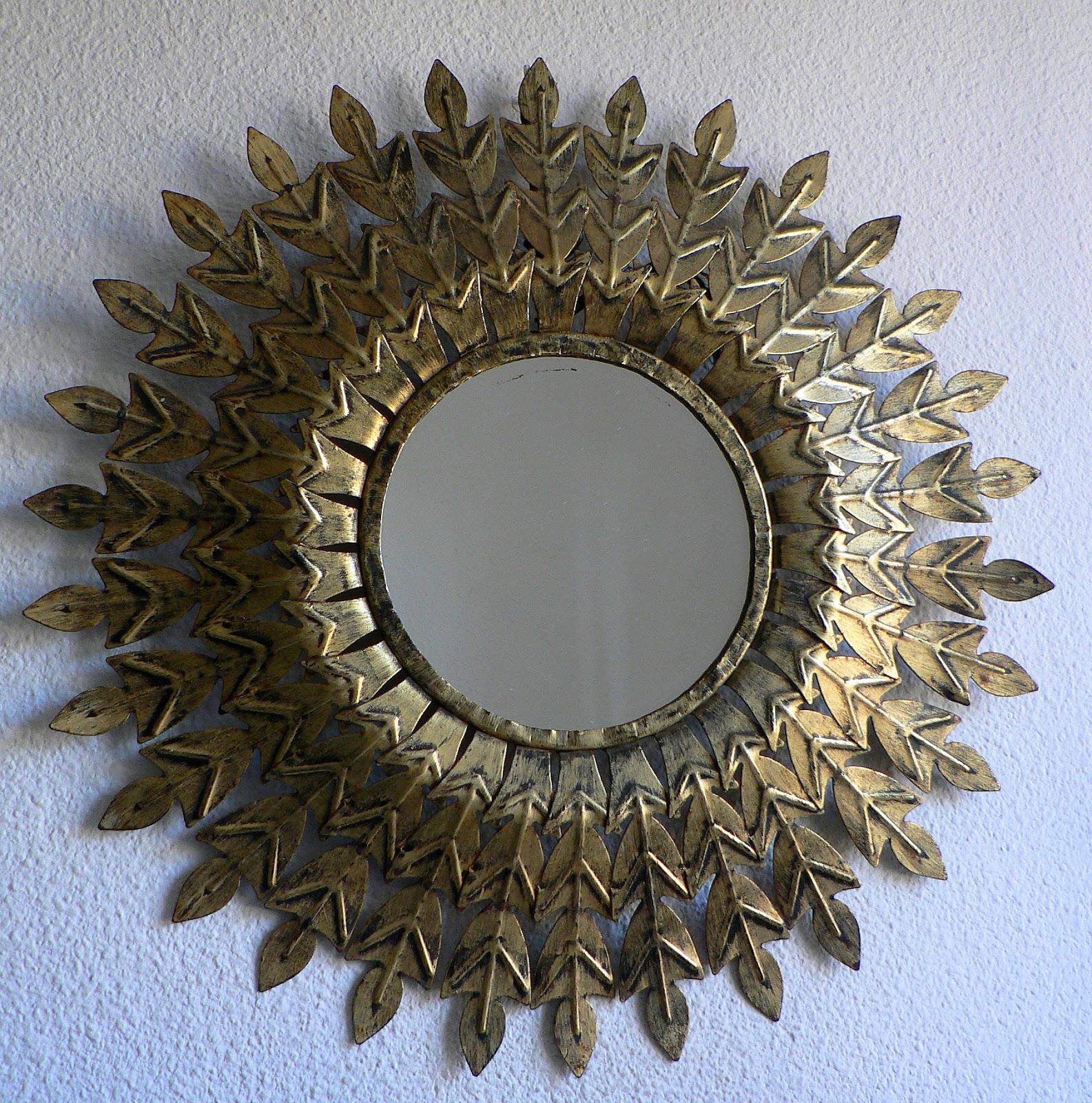 Vintage kitsch siglo xx espejo sol dorado metalico a os 60 - Espejo sol dorado ...