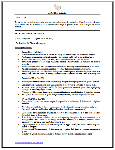 revenue analyst sample resume - Financial Analyst Resume Example