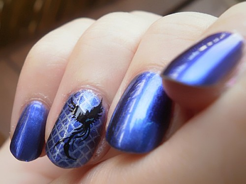 nail art, stamping, bleu, noir
