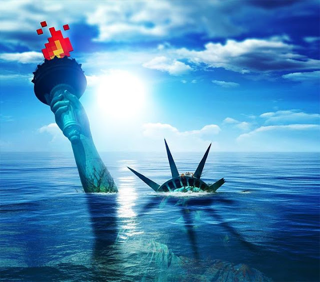 drowned Statue of Liberty with its fire in pixel