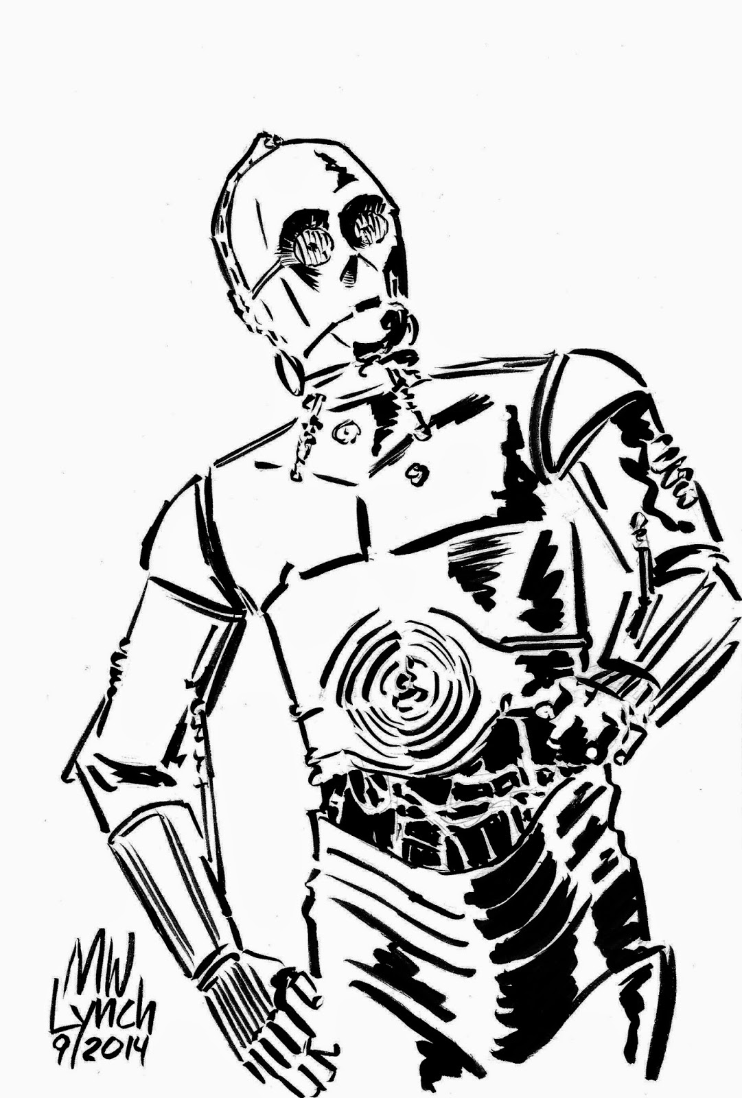 c3po coloring page - c3po black and white the image kid has it