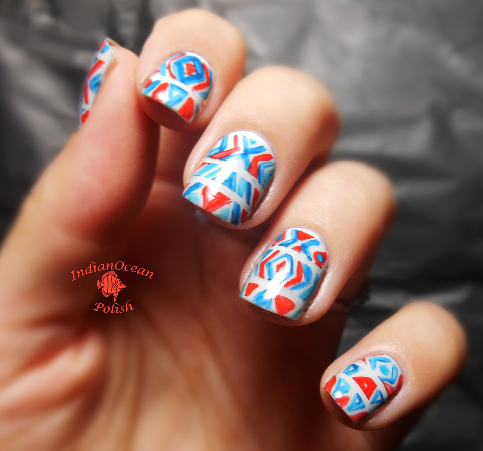 Tribal Print Nail Design