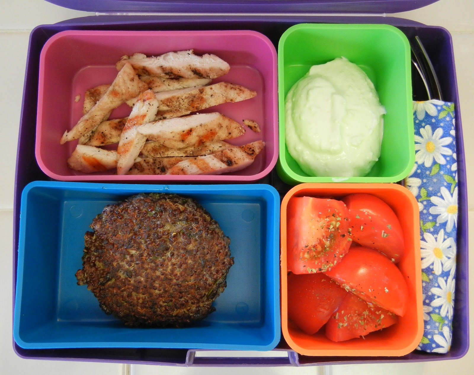Quinoa+Patty+and+Chicken+Bento+Box Weight Loss Recipes Post Weight Loss Surgery Menus: A day in my pouch