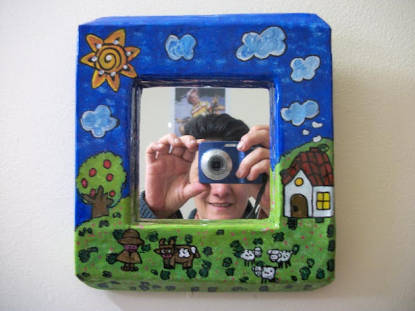 Cuadro con espejo aprender manualidades es - Espejo de papel ...