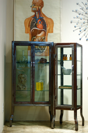 Charming Vintage Stainless Steel Medical Cabinets