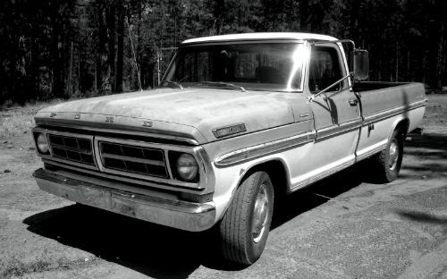 image of ford f150 black white