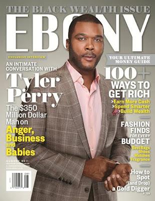 >Tyler Perry en couv' d'Ebony Magazine Black Wealth
