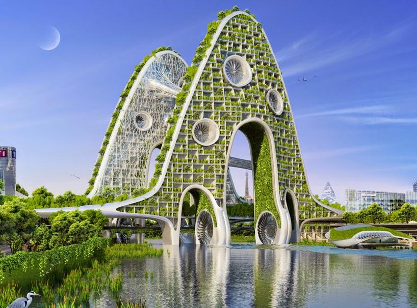 Proyecto Futurista en Paris, Ciudades Inteligentes, Edificios Verdes, Torres Puente