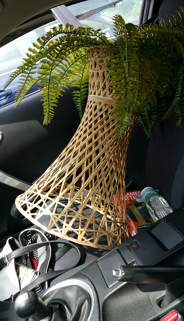 #thriftscorethursday Week 74 Wicker Plant Stand crammed in my car