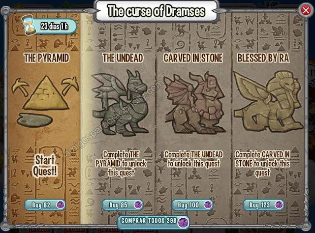 imagen de los segmentos o mini juegos de la isla egipcia de dragon city