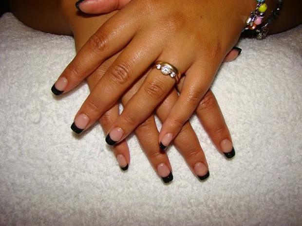 french white glitter tips &