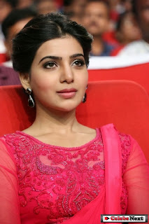 Actress Samantha Latest Pictures in Pink Saree at Autonagar Surya Audio Launch  0017