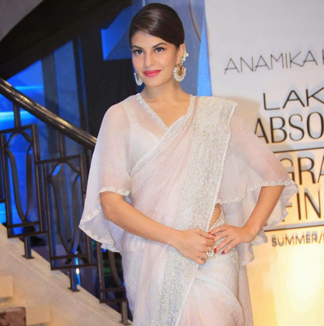 Jacqueline Fernandez in lovely Transparent Saree at Lakme Fashion Week Ramp Walk 2015