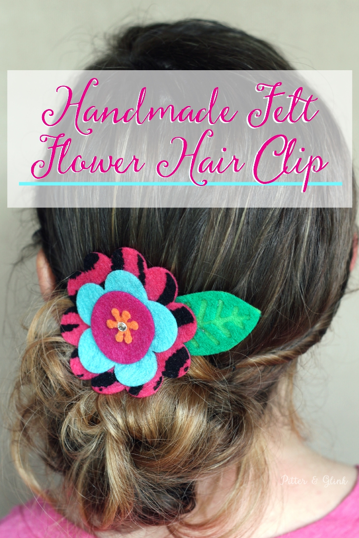 Handmade Felt Flower Hair Clip--The perfect inexpensive accessory for the little girl in your life! www.pitterandglink.com