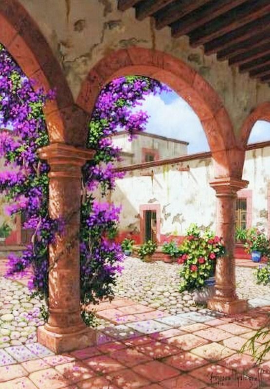 Pinturas cuadros lienzos portales antiguos leo - Cuadros murales para pared ...