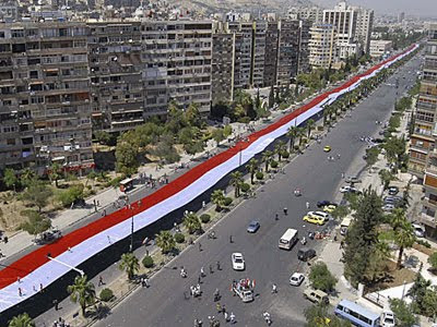2300-meter-long Syrian flag