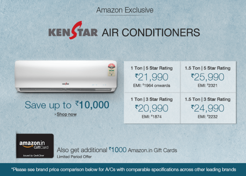 Buy Kenstar Air Conditioners & Free Rs. 2500 Amazon Gift Card from Rs. 19240 (HDFC Cards) or Rs. 20990 : Buytoearn