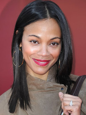 Zoe Saldana Gold Hoop Earrings