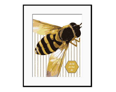 framed illustration of bee on a striped background with text
