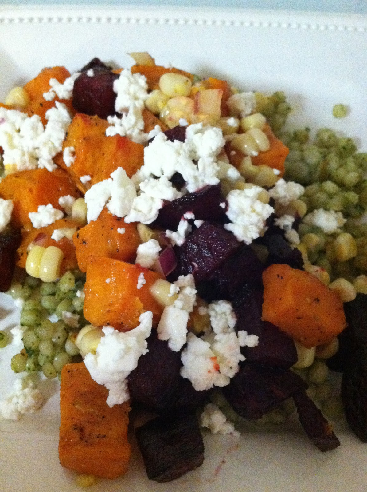 ... diapers: Roasted Sweet Potato, Beet and Corn Salad + Israeli Couscous