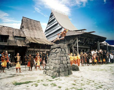 lompat batu nias, by indonesian tourism
