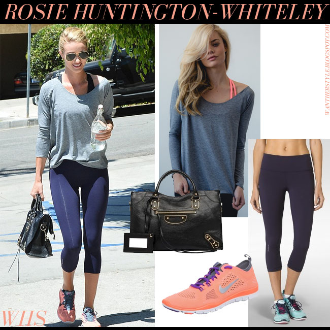 Rosie Huntington-Whiteley in grey top, blue leggings, neon orange Nike sneakers, black Balenciaga City tote with Ray Ban aviator sunglasses what she wore get the look june 19 2015