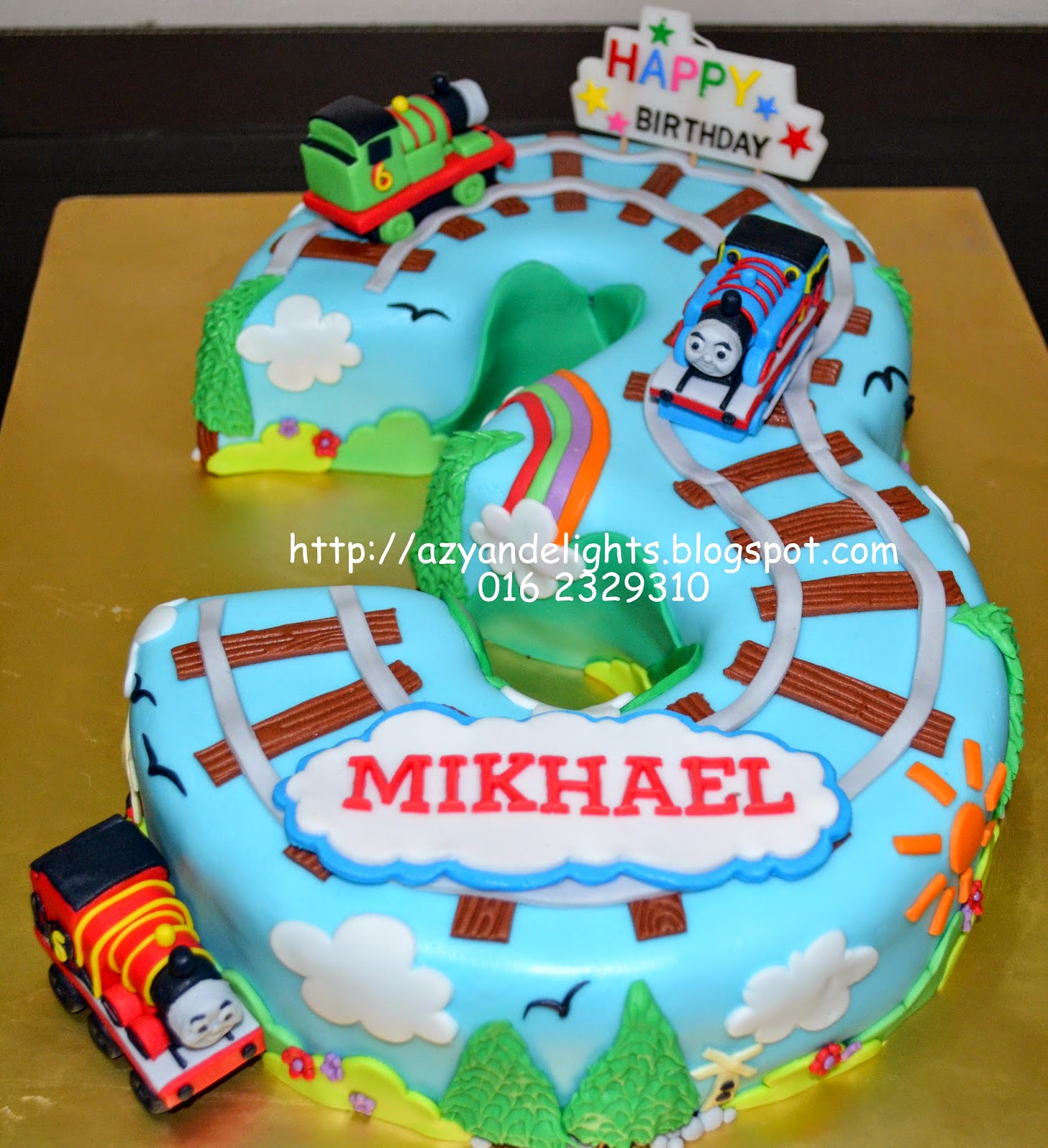 Azyandelights Number 3 Cake Thomas and Friends