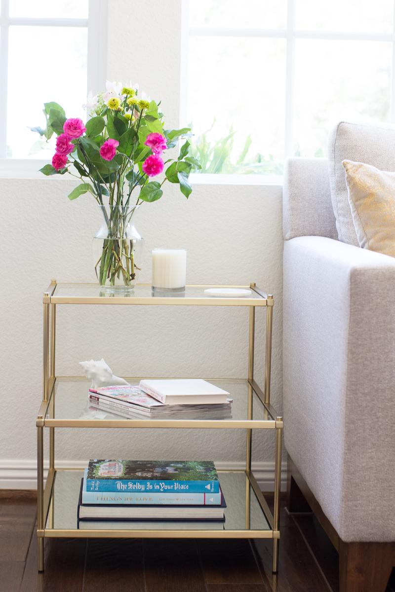 west elm gold side table, marble coasters