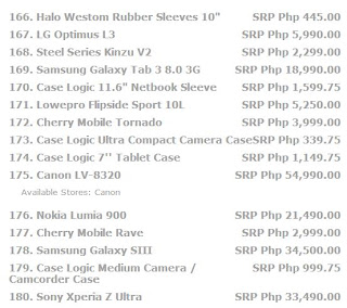 page 12 Price list for laptops, cellphone, tablets, and all other electronic devices