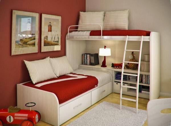 غرفة نوم اطفال باللون الاحمر والابيض