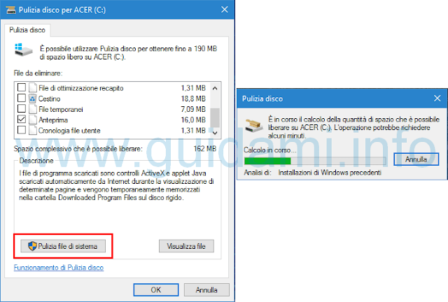 Windows 10 Pulizia file di sistema