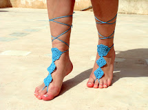 Crochet Blue Barefoot Sandals Nude Shoes Foot Jewelry