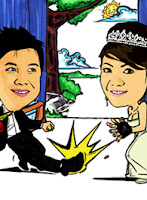 wedding caricature (soccer themed)