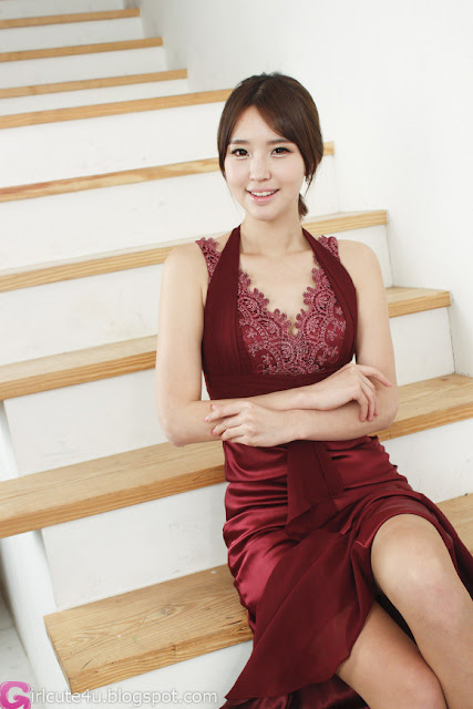 5 Choi Byeol Ha in Maroon  -Very cute asian girl - girlcute4u.blogspot.com