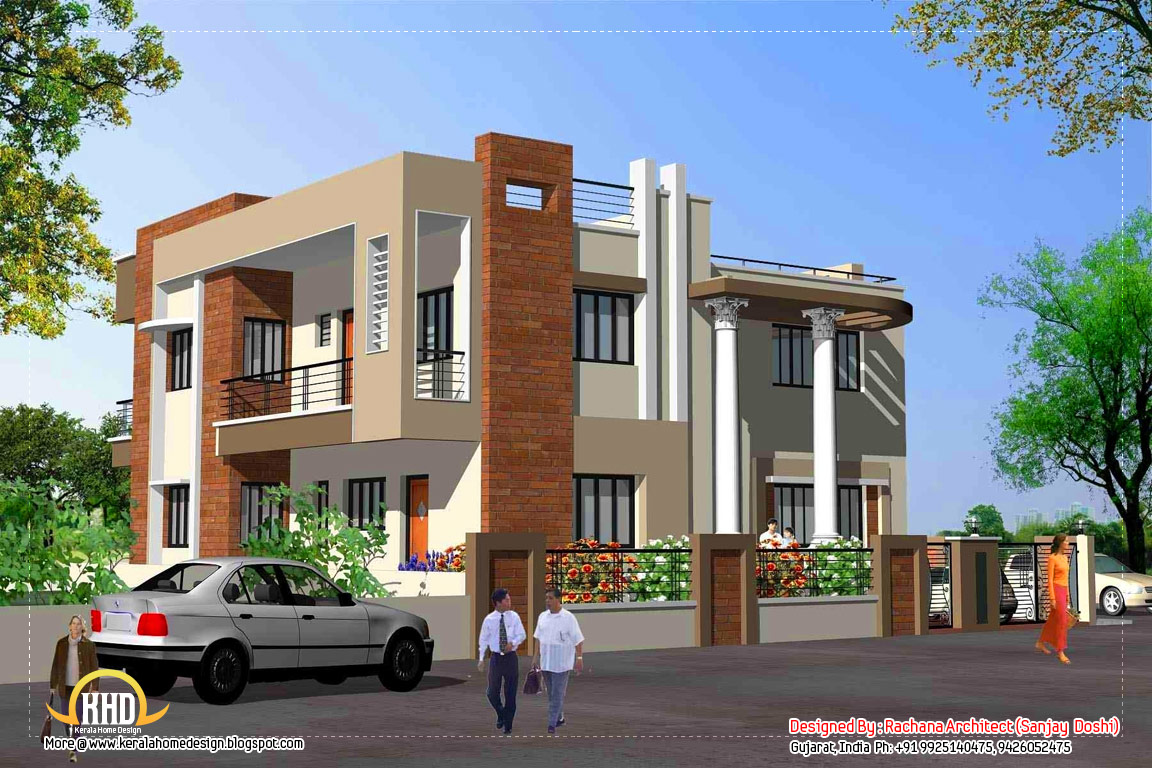India home design with house plans 3200 sq ft kerala for Indian home designs photos