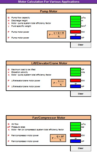 Quick Motor Calculation For Various Applications