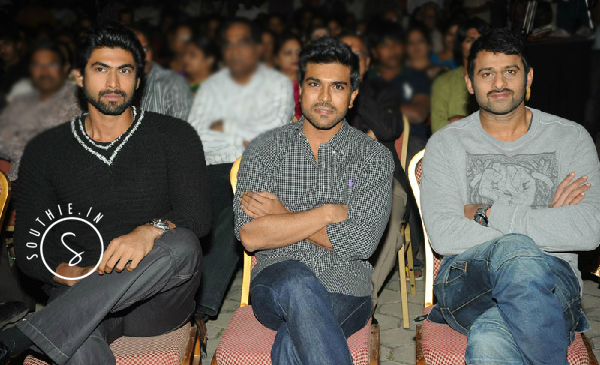 Rana, Ram Charan and Prabhas are being considered for the telugu Remake of Brothers. Rana, Ram Charan, Prabhas, at a movie event,