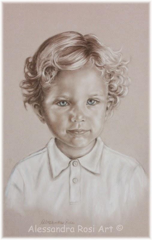 children's portraits in sepia pencil