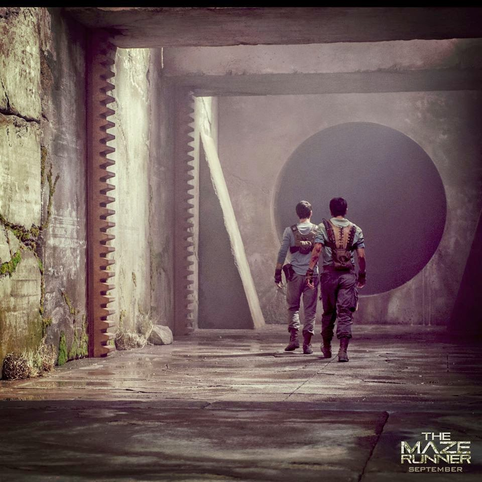 Dylan O'Brien and Ki Hong Lee in The Maze Runner