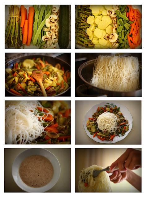 Imagen: Proceso de elaboración de verduras con fideos.