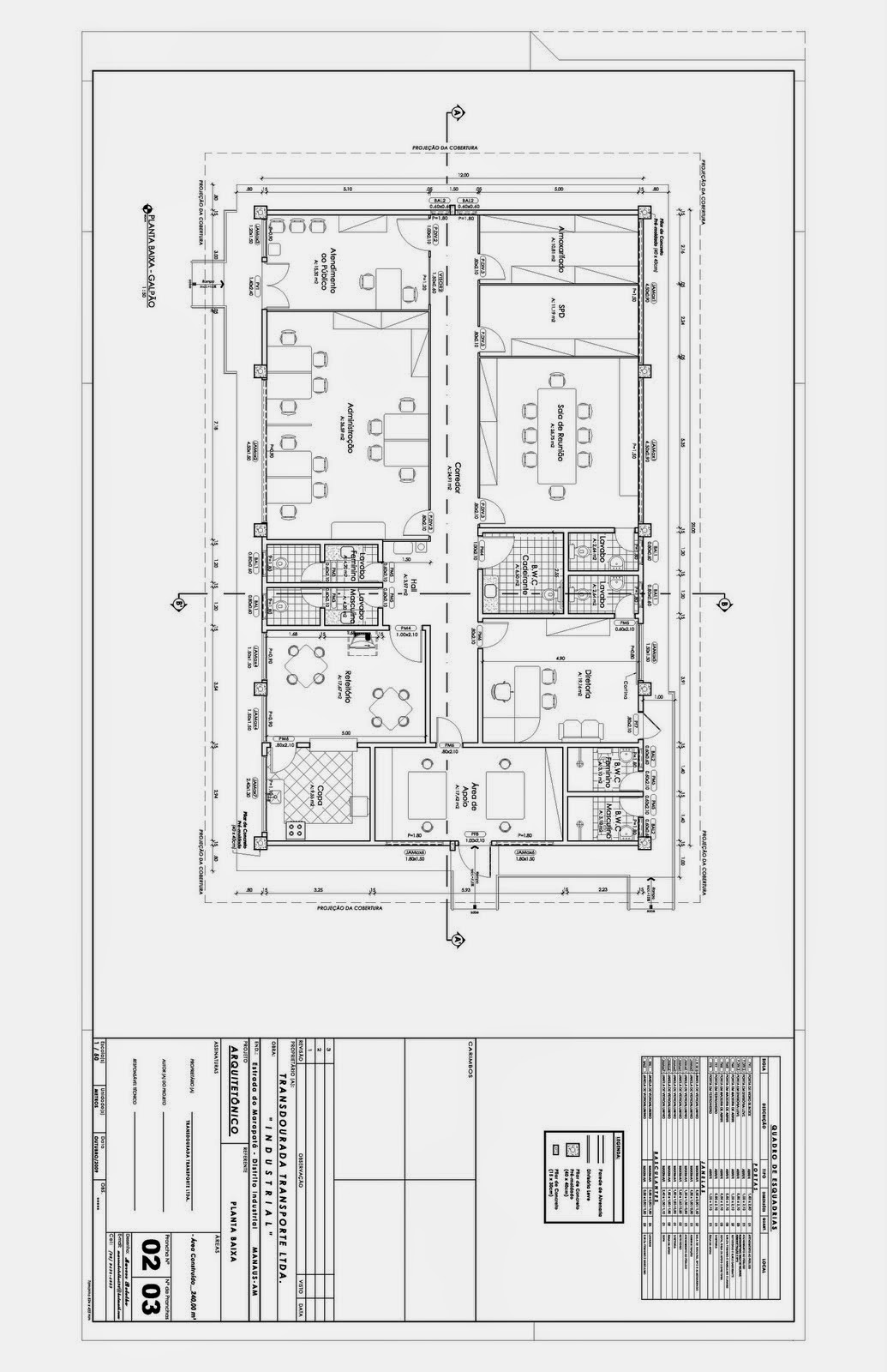 Projeto Industrial Projeto de Galpão Industrial com: Planta Baixa  #282828 1035 1600