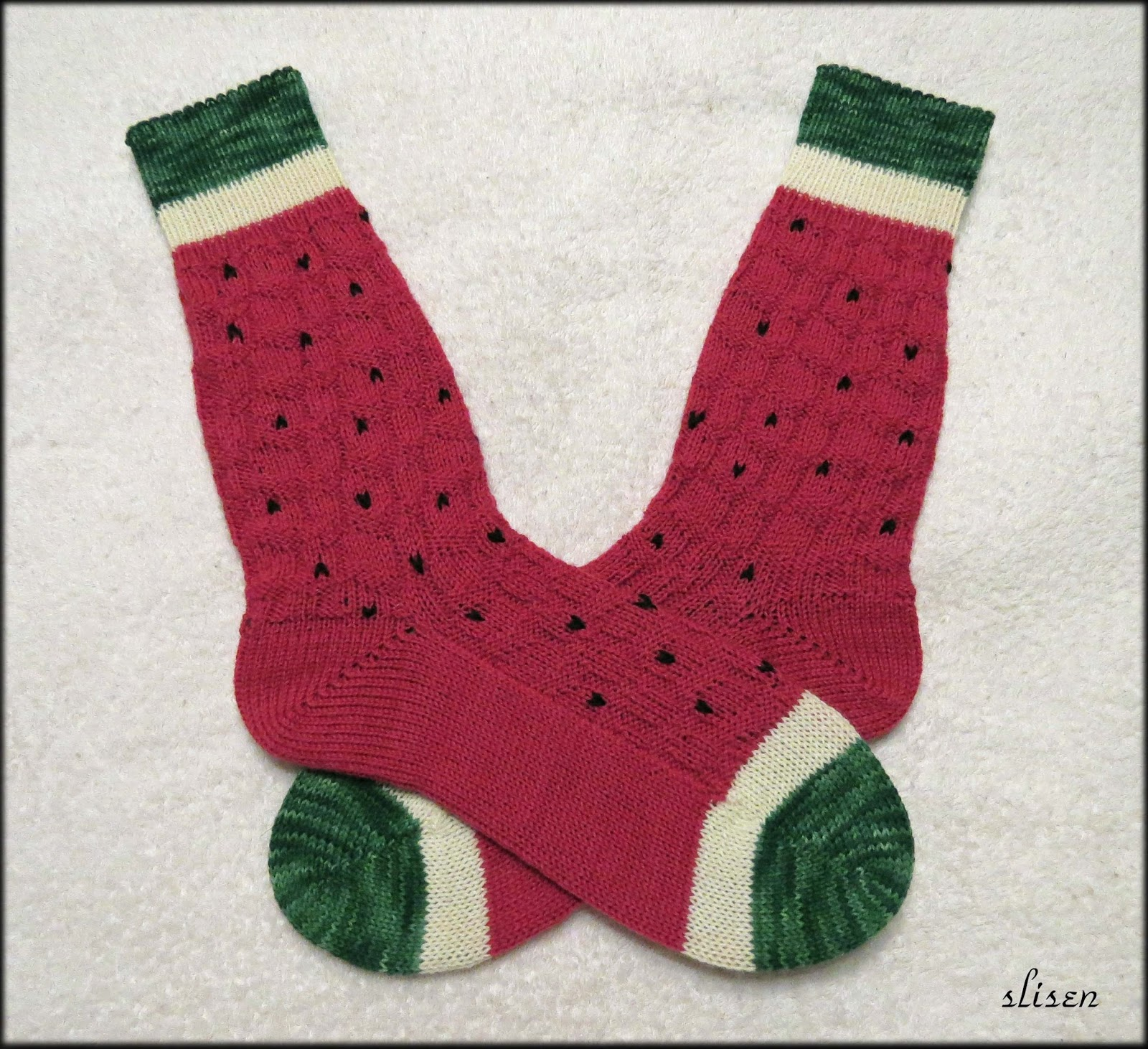Slisen\'s Happy Place: Watermelon Socks, knit flat