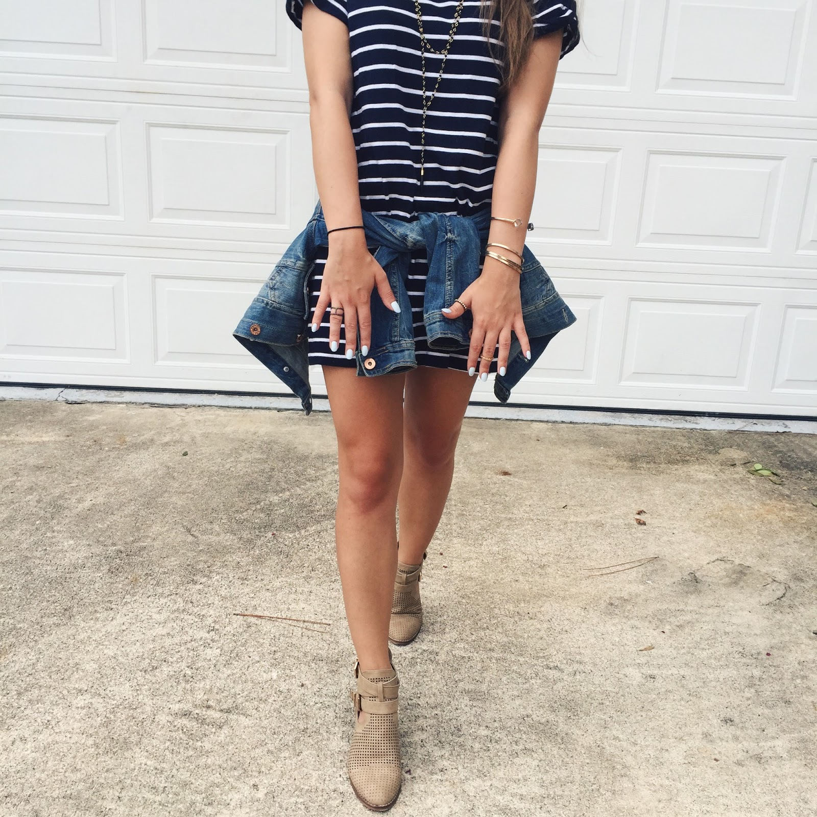 texas fashion blog, austin fashion blog, nyc street style blog, florida fashion blog, off-duty style, street style, personal style, medal striped tee dress, forever 21 ankle booties, h&m denim jacket
