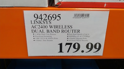 Deal for the Linksys AC2400 Wireless Dual Band Gigabit Wi-Fi Router at Costco